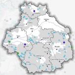 Localisation (commune d'implantation) des travaux pour l'eau aidés par France Relance en Centre-Val de Loire - juillet 2021 - La nature des projet est différenciée dans la légende : Assainissement (lutte contre les pollutions) - Eau potable (changement climatique) - Hygiénisation des boues - Restauration écologique (biodiversité)